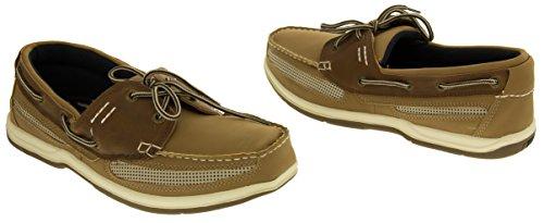 Island Surf Co Hombre Zapatos de Cuero Sintético de Vela Marrón - marrón