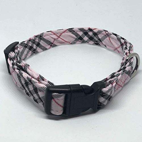 Plaid Dog Collars - 3 Boys Plaid, Pink Plaid, Small 9-15 inches 1/2 Wide (Dog Collars Burberry)