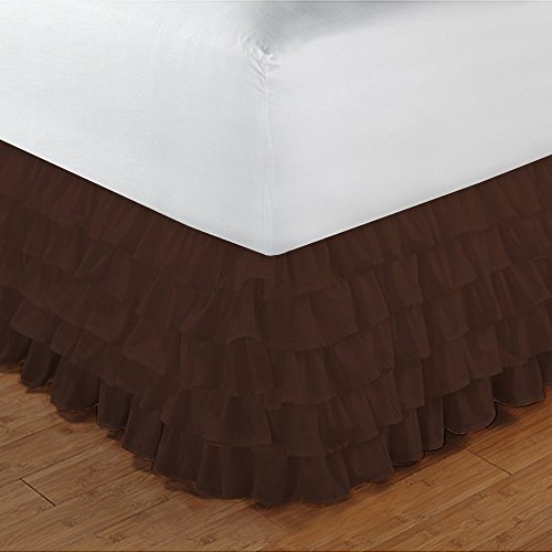 (RELIABLE BEDDING Luxurious Premium Quality Multi Ruffle/Gathering Bed Skirt Egyptian Cotton, 600 TC One Piece 15'' Drop Length Multi Ruffle BEDSKIRT In Solid !!! (Twin, Chocolate))