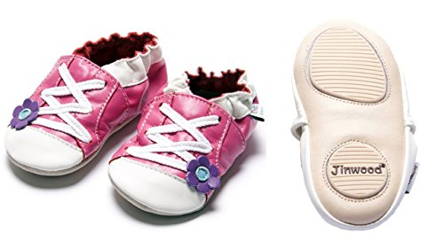Jinwood designed by amsomo 12 Verschiedene Modelle - Mädchen - Hausschuhe - Lederpuschen - Krabbelschuhe - Soft Sole/Mini Shoes DIV. Groeßen 17/19-35/36 sportive flower fuchsia mini shoes