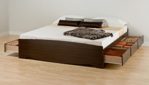 Espresso King Mate's Platform Storage Bed with 6 Drawers