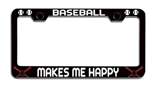 Makoroni - BASEBALL MAKES ME HAPPY Baseball License Plate Frame, License Tag Holder - Baseball License Plate Plates Tags
