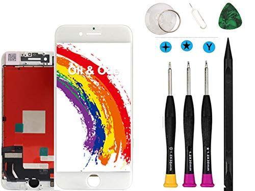 Oli & Ode Compatible with iPhone 8 Plus Screen Replacement White LCD Digitizer Touch Screen Assembly Set with 3D Touch Manual Included Model No. A1864/A1897/A1898 (White, 5.5 Plus) (Iphone 4 Front And Back Glass Replacement Kit)