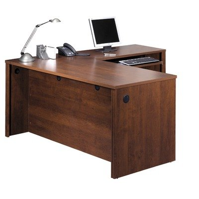 Bestar Embassy L-shape Wood Home Office Computer Desk in Tuscany Brown - Bestar Computer Desk