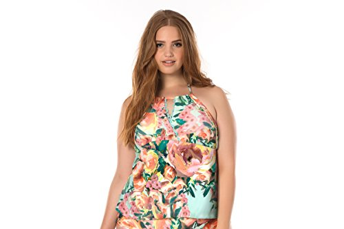 Becca-ETC-Womens-Plus-Size-High-Tea-Reinforced-Side-Halter-Tankini-Swim-Top-1X-Mlt
