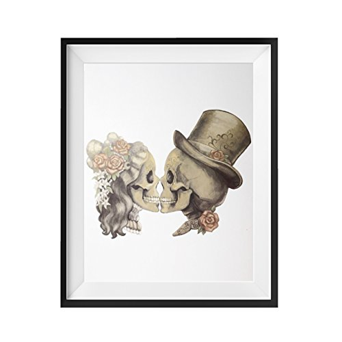 Sugar Skulls Wall Art Poster Print Decor - Bride & Groom - Gift for Newlyweds Teens Lovers Just Married - Vintage 8x10 by FOLE ()