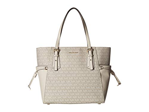 MICHAEL Michael Kors Voyager Logo Jacquard Tote Bag , Natural Light Cream (Logo Light Natural)