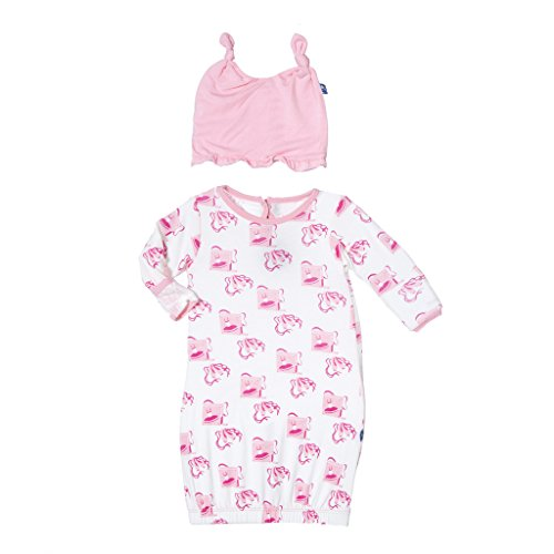 Set Gown Convertible (KicKee Pants Little Girls Gown & Knot Hat Set Natural Ballet Box, 0- 3 Months)