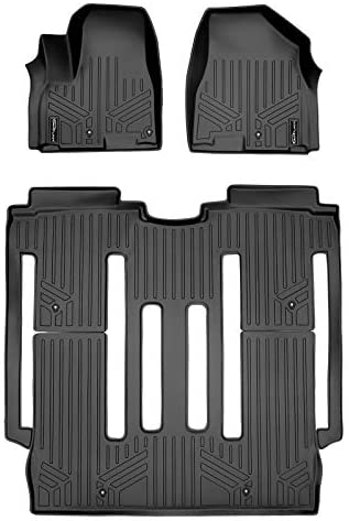 MAXLINER All Weather Custom Fit 2 Row Black Floor Mat Liner Set Compatible With 2015-2021 Kia Sedona (Only Fits 8 Passenger Models)