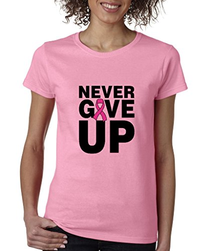 Never Give Up Fight Back Ladies T-Shirt Breast Cancer Awareness Shirts Azalea Pink b66