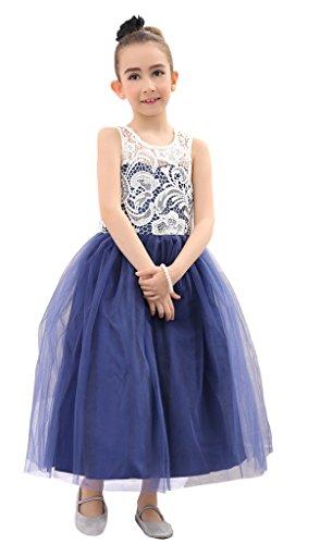 Bow Dream Flower Girl's Dress Navy Blue 10