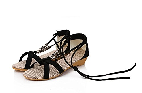 KHSKX-La Pendiente Con Nueva Bohemia Zapatos De Moda Sandalias Sandalias De Correa Rebordeada Pie Anillo De Roma Black Treinta Y Ocho Thirty-six