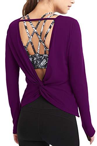 Duppoly Active Tops for Women Backless Jogging Shirts Twist-Back Long Sleeve Tee Shirt for Leggings Open Back Yoga Shirt Purple M