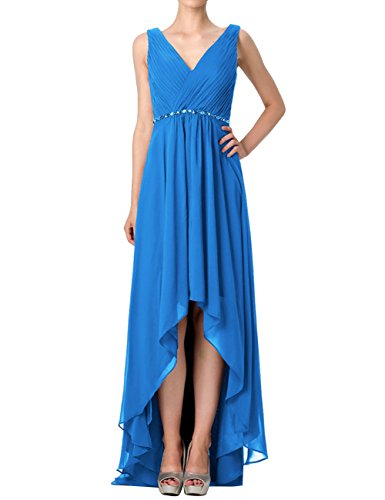 Neck Maxi Dresses Blue Gowns Evening V Cdress Chiffon Ocean Beaded Low High Bridesmaid Prom Dress 1wRqz4T