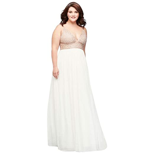 Chiffon A-Line Plus Size Prom Dress with Beaded Bodice Style ...