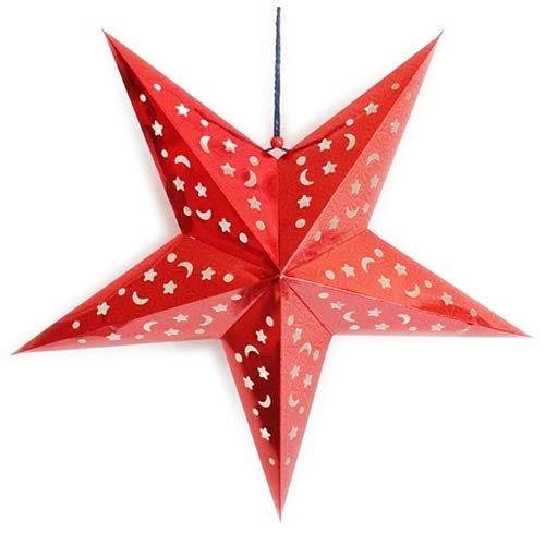 Paper Lantern - Fashion Xmas Decor Pentagram Lampshade Star Paper Lantern Hanging Wedding Red - Hooks Tassels Mini Indoor Aqua Electric Favor Pink In Sky