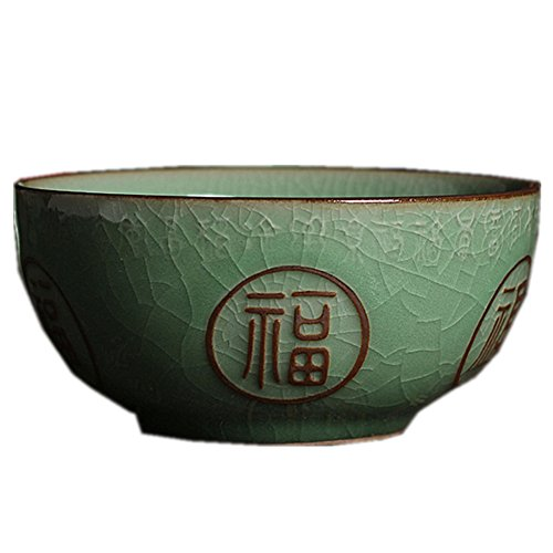 - Chinese Rice Bowl 10 Ounce 4.5Inch Crackle-Glazed Porcelain Engraved FU Chinese Celadon (1)