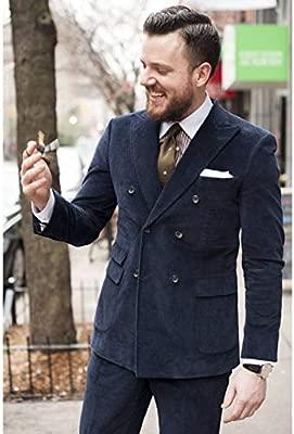 GFRBJK Abrigo pantalón de Pana de Doble Botonadura Traje de ...