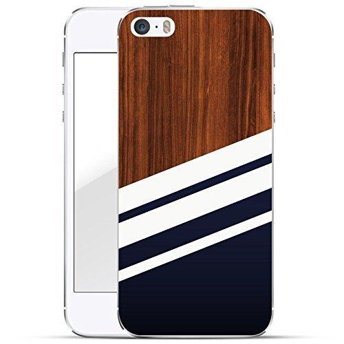 finoo | iPhone SE Hard Case Handy-Hülle mit Motiv | dünne stoßfeste Schutz-Cover Tasche in Premium Qualität | Premium Case für Dein Smartphone| Navy Holz