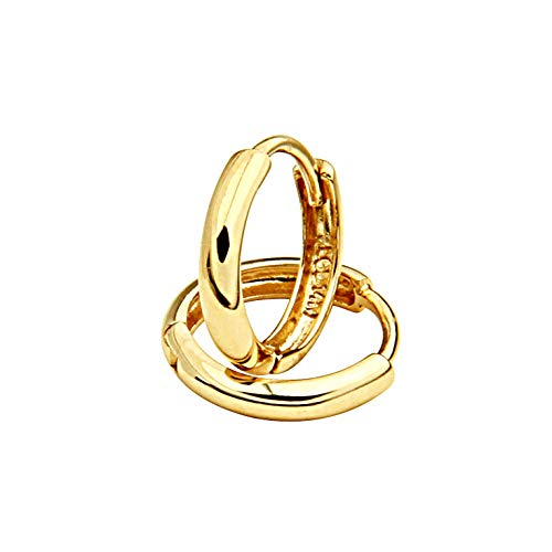 14k Yellow Gold 1.5mm Thickness Huggie Earrings (8 x 8 mm)