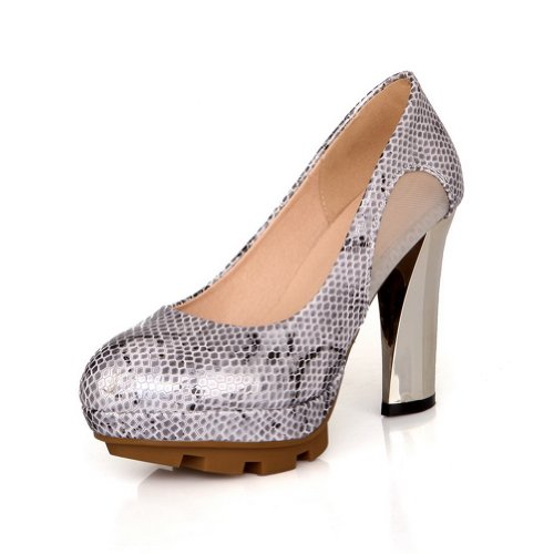 VogueZone009 Womens Closed Round Toe High Heel Platform Micro Fiber PU Pumps, Silver, 5.5 UK