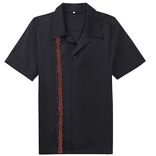 Candow Look camisas de hombre negro algod¨®n flame pattern print black+patter2