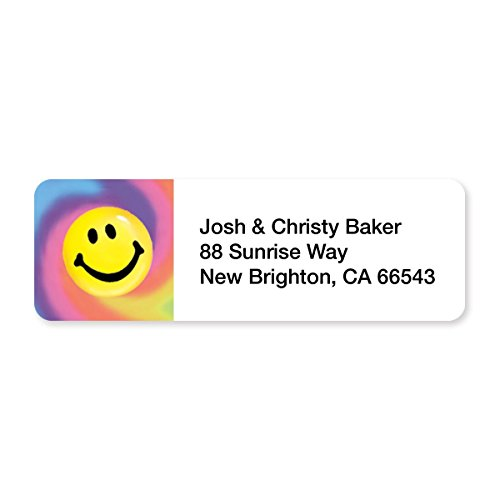 Tie Dye Smiley Set of 215 Sheeted Address Labels