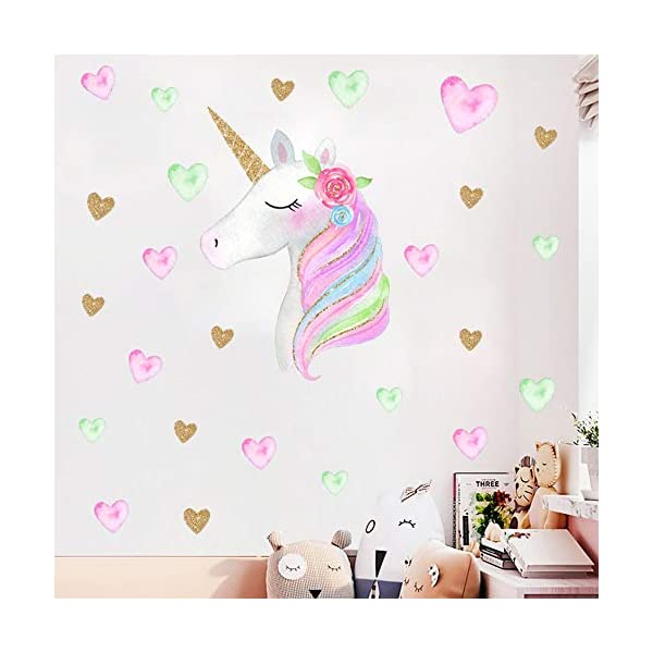 Hicdaw 110PCS Decoration for Unicorn Wall Stickers 3 Pack 2 Styles for Unicorn Wall Decal with Heart Flower Birthday… 7