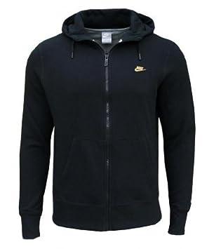Nike Hombres Fleece Full Zip encapuchado sudadera de chándal negro ...