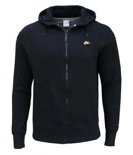 Homme Noir Polaire Avec Or Nike Doré Logo Veste Capuche HYeDIW29E