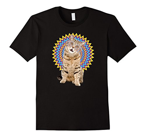 Mens Funny Trippy Cat T-shirt, Psychedelic Kitty by Zany Brainy Large - Shades Trippy
