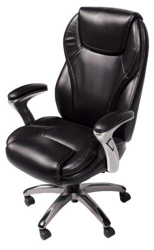 Serta Bonded Leather Executive Chair, Multi Paddle, Black
