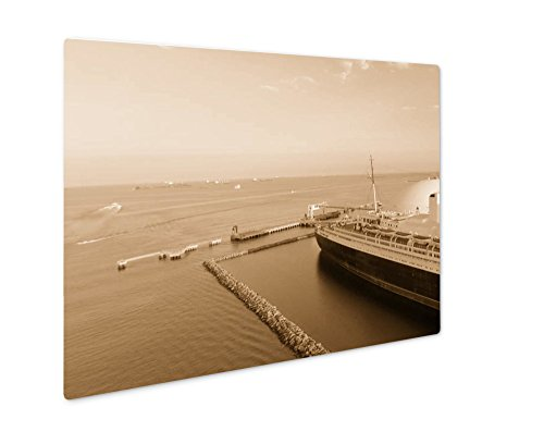 Ashley Giclee Aerial View Of Rms Queen Mary Ocean Liner Long Beach Ca, Wall Art Photo Print On Metal Panel, Sepia, 24x30, Floating Frame, (Queen Mary Ship Pictures)