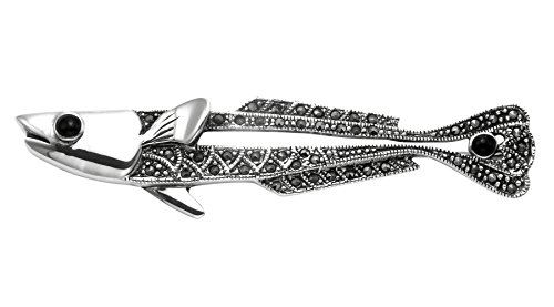 Sterling Silver & Marcasite Openwork Pike Fish Pin w/Simulated Black Onyx