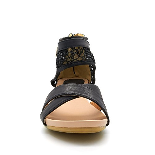 New Womens Low Mid Wedge Heel Summer Sandals Ladies Large Big Size Shoes UK 8-11 Black tPzSMr31w