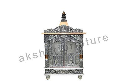 Akshar Furniture Aluminium & Copper Oxidized Home Temple/Ghar mandir/Pooja mandir Size- L-18 INCH B-9 INCH with Dome