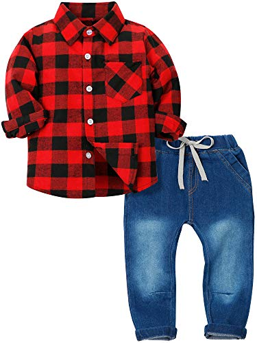 YALLET Toddler Boys Clothes Outfits 2 Pieces Long Sleeve Plaid Flannel Shirt Denim Pants Jeans Set Red