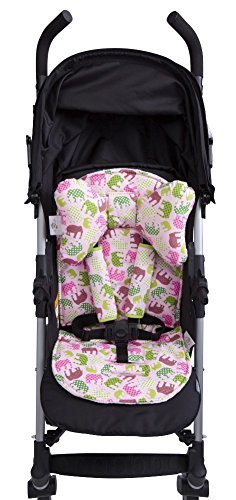 Baby Elephant Ears 3 Piece Stroller Set ~ Seat Liner, Support Pillow & Strap Covers (Pink Elephant) (Elephant Ear Pillow Pink)