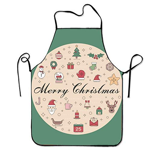 (WSSM Santa Envelope Sweetheart Chef Kitchen Apron Restaurant Stitched Edges)