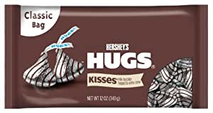 HERSHEY'S HUGS Chocolate, Gluten-Free Milk Chocolate Hugged by White Crème, 12 Ounce Bag (Pack of 4) (Halloween Candy)