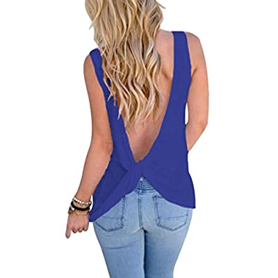 Tloowy Womens Sexy Backless Tank Tops Solid Color Workout Top Cute Open Back Shirts Knotted Back Sleeveless Vest Tee