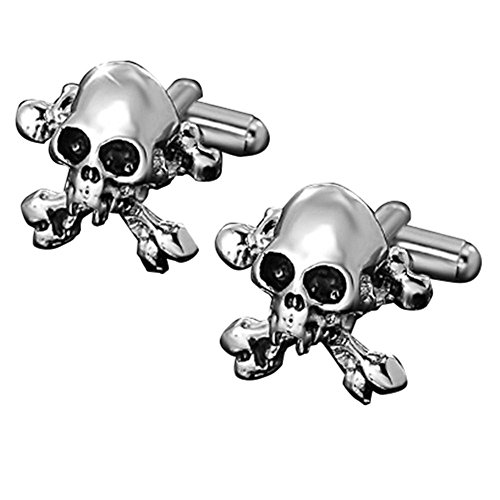 14k 2 Tone Gold Cufflinks - MGStyle Cufflinks For Men - Skull - Black & Silver Tone - Stainless Steel with Deluxe Gift Box