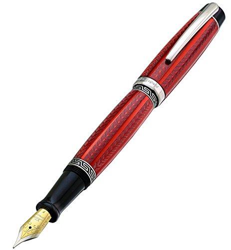 Xezo Maestro LeGrand Diamond Cut, Lacquered, Platinum Plated Fine Point Fountain Pen in Rhodochrosite Color by Xezo Pens