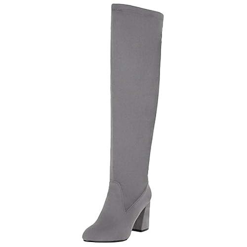 RAZAMAZA Mujer Simple Tacón Ancho Botas Largas Cómodo sin Cordones Oficina Botas Vestido Otoño Gray Size