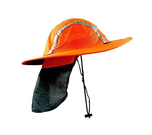 Blubandoo Capbandoo Cooling Sun Safety Hatbandoo - Features A Vented Veil & Wide Brim - Contains Magic Cooling Crystals - Ideal for Outdoor Activities (S/M, Red/Orange)
