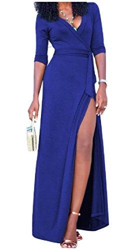 High Sexy Waist Blue V Split Dresses Neck sleeve Work Long Women Coolred wq4tTT