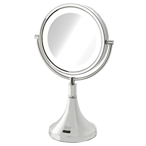 (Sharper Image 8X-1X Led Lighted Sensor Mirror, Chrome, 2.95 Pound)