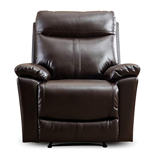 CANMOV Padded Durable Bonded Leather Recliner Chair for Living Room, Ergonomic Single Seat Reclining Motion Sofa, Brown