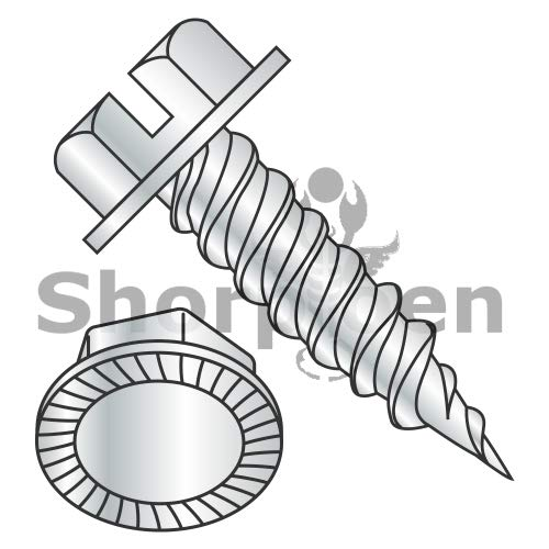 SHORPIOEN Slot Ind Hex Washer Serrated 1/4'' Across The Flats F/T Self Piercing Needle Zinc 8-15 x 1/2 BC-0808PSWS (Box of 10000) by Shorpioen