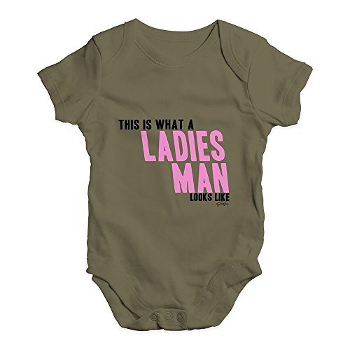 TWISTED ENVY Baby Grow Onesie This is What A Ladies Man Looks Like Khaki 3-6 Months -